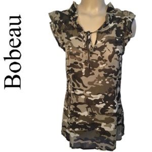 Bobeau Brown Camouflage Sleeveless Top M NEW